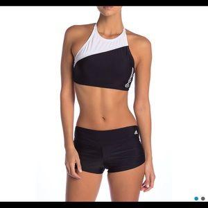 NEW! adidas | black grey strappy back swim • L